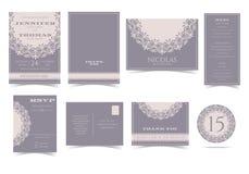 Σύνολο εκλεκτής ποιότητας στρογγυλής κάρτας γαμήλιας πρόσκλησης δαντελλών διανυσματική απεικόνιση