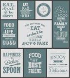 Σύνολο εκλεκτής ποιότητας τυπογραφικών αποσπασμάτων τροφίμων διανυσματική απεικόνιση
