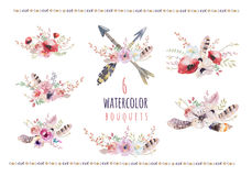 Σύνολο εκλεκτής ποιότητας floral ανθοδεσμών watercolor Η άνοιξη Boho ανθίζουν και το πλαίσιο φύλλων που απομονώνεται στο άσπρο υπ Στοκ φωτογραφία με δικαίωμα ελεύθερης χρήσης