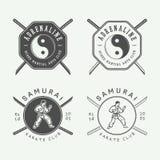 Σύνολο εκλεκτής ποιότητας karate ή λογότυπου πολεμικών τεχνών, έμβλημα, διακριτικό, ετικέτα διανυσματική απεικόνιση