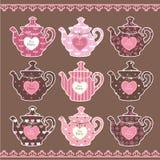 Σύνολο εκλεκτής ποιότητας teapots Στοκ Εικόνες