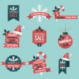Σύνολο εμβλήματος έκπτωσης πώλησης Χριστουγέννων, ετικέτα - διανυσματική απεικόνιση απεικόνιση αποθεμάτων