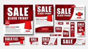Σύνολο εμβλήματος Ιστού για τις μαύρες πωλήσεις Παρασκευής, τυποποιημένα μεγέθη απεικόνιση αποθεμάτων
