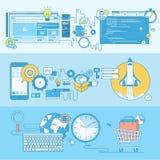 Σύνολο εμβλημάτων έννοιας γραμμών για τον Ιστό και app την ανάπτυξη, ηλεκτρονικό εμπόριο διανυσματική απεικόνιση