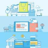 Σύνολο εμβλημάτων έννοιας γραμμών για το ηλεκτρονικό εμπόριο απεικόνιση αποθεμάτων