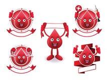 Σύνολο εμβλημάτων αίματος χαμόγελου κινούμενων σχεδίων Στοκ εικόνες με δικαίωμα ελεύθερης χρήσης