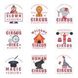 Σύνολο εμβλημάτων, ετικετών, διακριτικών και λογότυπων τσίρκων στο άσπρο υπόβαθρο Στοκ Εικόνες