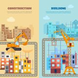 Σύνολο εμβλημάτων κατασκευής και οικοδόμησης απεικόνιση αποθεμάτων