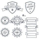 Σύνολο εμβλημάτων, κορδελλών και απεικονίσεων λογότυπων Στοκ Εικόνα