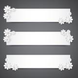 Σύνολο εμβλημάτων με τα άσπρα λουλούδια Έμβλημα Praznichnye για τους γάμους, εορτασμοί, γενέθλια, επέτειος απεικόνιση αποθεμάτων