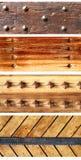 Σύνολο εμβλημάτων με τις ξύλινα σανίδες και τα καρφιά Στοκ εικόνα με δικαίωμα ελεύθερης χρήσης