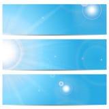 Σύνολο εμβλημάτων με το μπλε ουρανό και τον ήλιο Στοκ φωτογραφία με δικαίωμα ελεύθερης χρήσης