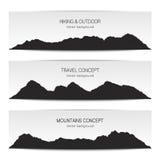 Σύνολο εμβλημάτων σειράς βουνών Διανυσματική απεικόνιση στο Μαύρο και Στοκ Εικόνες