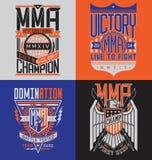 Σύνολο εμβλημάτων σχεδίου μπλουζών MMA Στοκ Φωτογραφίες