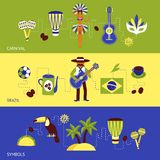 Σύνολο εμβλημάτων της Βραζιλίας Στοκ Εικόνες