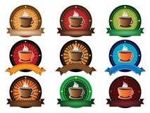 Σύνολο εμβλημάτων φλυτζανιών καφέ Στοκ εικόνα με δικαίωμα ελεύθερης χρήσης