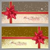Σύνολο εμβλημάτων Χριστουγέννων με τους σπινθήρες και το κόκκινο τόξο Στοκ φωτογραφίες με δικαίωμα ελεύθερης χρήσης