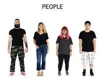 Σύνολο ενήλικου πορτρέτου στούντιο τρόπου ζωής χειρονομίας ανθρώπων ποικιλομορφίας Στοκ Εικόνα