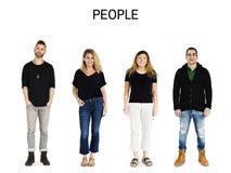 Σύνολο ενήλικου πορτρέτου στούντιο τρόπου ζωής χειρονομίας ανθρώπων ποικιλομορφίας Στοκ Εικόνες