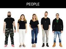 Σύνολο ενήλικου πορτρέτου στούντιο τρόπου ζωής χειρονομίας ανθρώπων ποικιλομορφίας Στοκ φωτογραφία με δικαίωμα ελεύθερης χρήσης