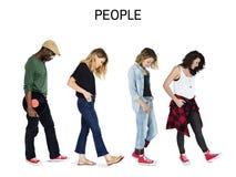 Σύνολο ενήλικου πορτρέτου στούντιο τρόπου ζωής χειρονομίας ανθρώπων ποικιλομορφίας Στοκ Φωτογραφία