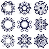 Σύνολο εννέα κυκλικών σχεδίων διανυσματική απεικόνιση