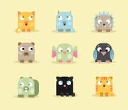 Σύνολο εννέα χαριτωμένων και αστείων μικρών ζώων Στοκ Εικόνες