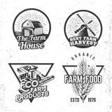 Σύνολο εννοιών αγροικιών λογότυπων Ετικέτες στο αναδρομικό εκλεκτής ποιότητας ύφος Στοκ Εικόνες