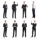 Σύνολο ενός νέου και όμορφου επιχειρηματία που απομονώνεται στο λευκό Επιχείρηση, σταδιοδρομία, εργασία, έννοια Στοκ Εικόνες