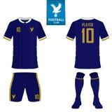 Σύνολο εξάρτησης ποδοσφαίρου ή προτύπου του Τζέρσεϋ ποδοσφαίρου για τη λέσχη ποδοσφαίρου Επίπεδο λογότυπο ποδοσφαίρου στην μπλε ε ελεύθερη απεικόνιση δικαιώματος