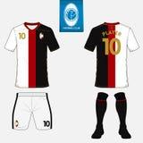 Σύνολο εξάρτησης ποδοσφαίρου ή προτύπου του Τζέρσεϋ ποδοσφαίρου Επίπεδο λογότυπο στην μπλε ετικέτα Μπροστινή και πίσω άποψη Ποδόσ διανυσματική απεικόνιση