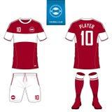 Σύνολο εξάρτησης ποδοσφαίρου ή προτύπου του Τζέρσεϋ ποδοσφαίρου Επίπεδο λογότυπο ποδοσφαίρου Μπροστινό και πίσω ποδόσφαιρο άποψης ελεύθερη απεικόνιση δικαιώματος