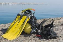 Σύνολο εξοπλισμού κατάδυσης σκαφάνδρων θαλασσίως Στοκ Φωτογραφία