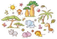 Σύνολο εξωτικών αφρικανικών ζώων και φυτών κινούμενων σχεδίων Στοκ Εικόνα
