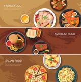 Σύνολο επίπεδου σχεδίου εμβλημάτων Ιστού τροφίμων Τρόφιμα της Γαλλίας, αμερικανικά τρόφιμα, αυτό απεικόνιση αποθεμάτων