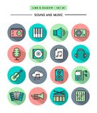 Σύνολο επίπεδου σχεδίου, μακροχρόνιας σκιάς, λεπτών ήχου γραμμών και εικονιδίων μουσικής Στοκ Φωτογραφία
