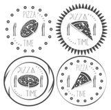 Σύνολο επίπεδου χρόνου πιτσών λογότυπων, στοιχεία σχεδίου Στοκ Φωτογραφία