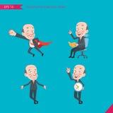 Σύνολο επίπεδου ύφους χαρακτήρα σχεδίων, δραστηριότητες επιχειρησιακής έννοιας CEO - επιχειρησιακός ήρωας, ερώτηση, χρονική διαχε Στοκ Εικόνα