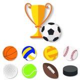 Σύνολο επίπεδων αθλητικών σφαιρών σχεδίου και φλυτζανιού νικητών Στοκ Εικόνα