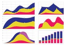 Σύνολο επίπεδων γραφικών παραστάσεων και διαγραμμάτων με ένα πλέγμα Στοκ Εικόνα