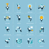 Σύνολο επίπεδων εικονιδίων έννοιας σχεδίου για την επιχείρηση Στοκ Εικόνα