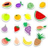 Σύνολο επίπεδων εικονιδίων αυτοκόλλητων ετικεττών φρούτων Στοκ Φωτογραφίες