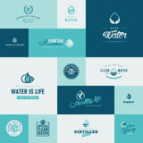 Σύνολο επίπεδων εικονιδίων νερού και φύσης σχεδίου Στοκ Εικόνες