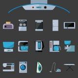 Σύνολο επίπεδων εικονιδίων οικιακών συσκευών ελεύθερη απεικόνιση δικαιώματος