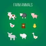 Σύνολο επίπεδων εικονιδίων σχεδίου με τα ζώα αγροκτημάτων Στοκ Φωτογραφίες