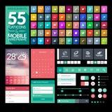 Σύνολο επίπεδων εικονιδίων σχεδίου, στοιχεία, widgets Στοκ Εικόνα