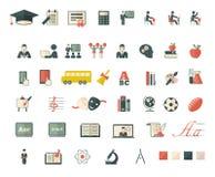Σύνολο επίπεδων εικονιδίων σχολείων και εκπαίδευσης Στοκ Φωτογραφίες