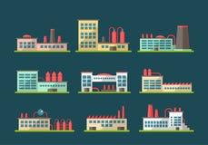 Σύνολο επίπεδων εικονογραμμάτων βιομηχανικών κτηρίων σχεδίου Στοκ φωτογραφία με δικαίωμα ελεύθερης χρήσης