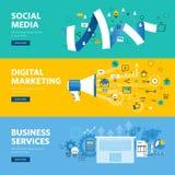 Σύνολο επίπεδων εμβλημάτων Ιστού σχεδίου γραμμών για τα κοινωνικά μέσα, το μάρκετινγκ Διαδικτύου, τη δικτύωση και τις υπηρεσίες ε ελεύθερη απεικόνιση δικαιώματος