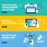 Σύνολο επίπεδων εμβλημάτων Ιστού σχεδίου γραμμών για την υγειονομική περίθαλψη κινητό app, διοικητικές λύσεις σχεδίων υγείας Στοκ Εικόνες